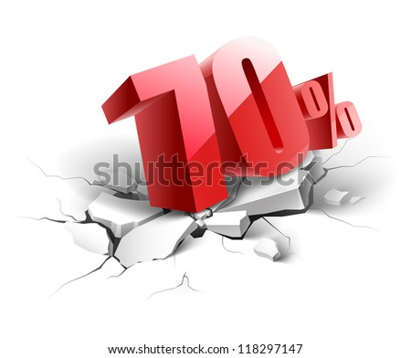 70 percent discount icon on white background - stock vector