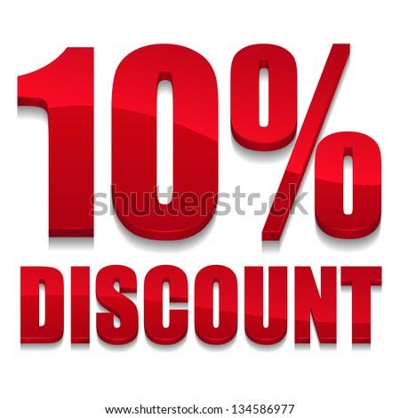 10 percent discount text - stock vector