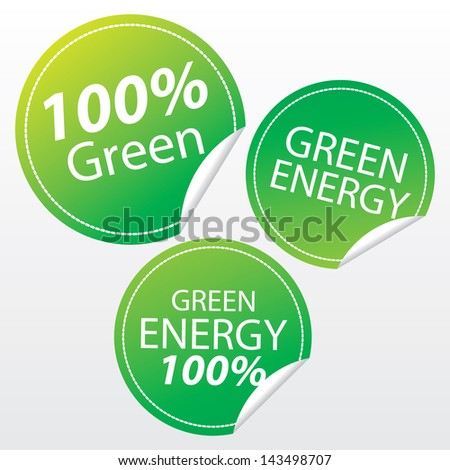 100 Percent Green, Green Energy and Green Energy 100 Percent Sticker Tags - Vector - stock vector