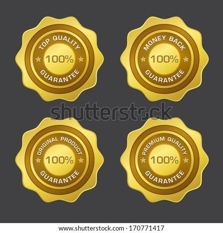 100 Percent Guarantee Gold Seal Vector Design - stock vector