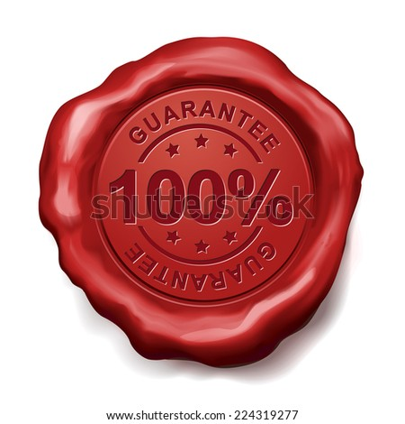 100 percent guarantee red wax seal over white background - stock vector