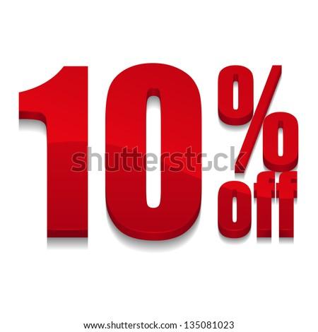 10 percent off digits - stock vector