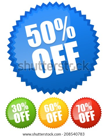30, 50, 60, 70 percent off price flashes. - stock vector