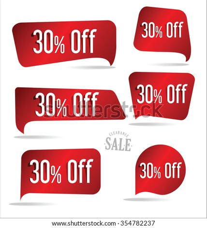 30 percent off red sticker collection - stock vector