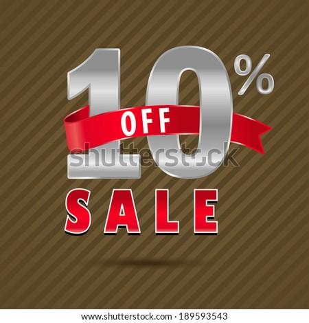 10 percent off, 10 sale discount text- vector EPS10 - stock vector