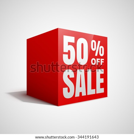 50 percent off sale red cube. - stock vector