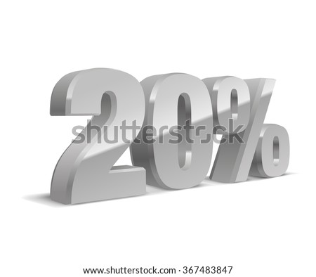 20% percent off, sale white background, silver-gray object 3D. Eps10 Vector. - stock vector