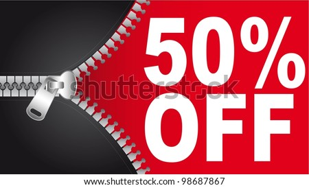 50 percent off text with  zip. vector illustration - stock vector
