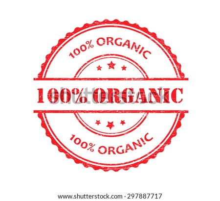 100 percent organic grunge rubber stamp.Vector illustration. - stock vector