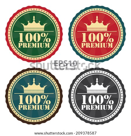 100 Percent Premium Sign on Vintage, Retro Stamp, Icon, Button, Label Isolated on White, Vector Format - stock vector