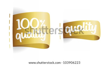 100 percent quality gold labels set. - stock vector