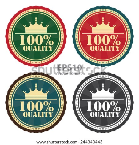 100 percent quality stamp, badge, sticker, icon, button, label isolated on white, vector format - stock vector