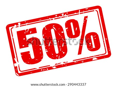 50 percent red stamp text on white - stock vector