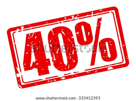 40 percent red stamp text on white - stock vector