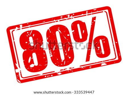 80 percent red stamp text on white - stock vector