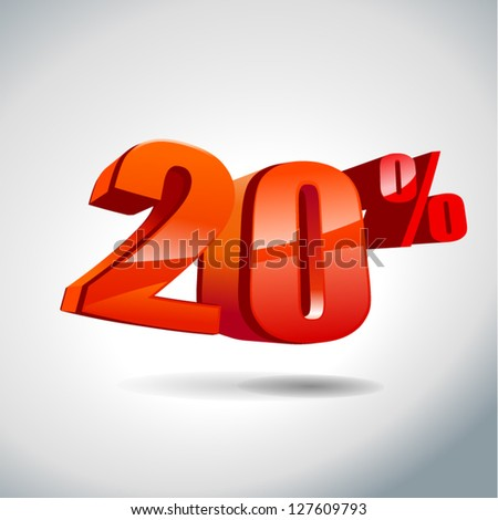 20 percent sale - stock vector