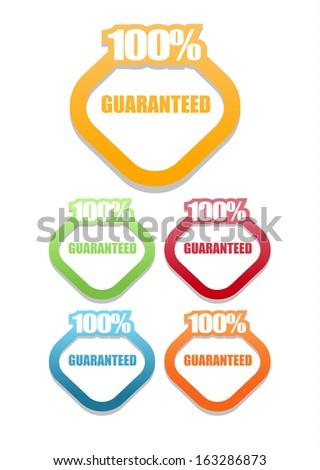 100 percent satisfaction guarantee label set - stock vector