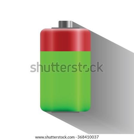 70 percentage battery charge status with long shadow, flat design  - vector illustration - stock vector