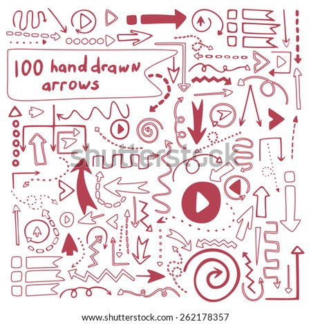 100 perfect vector hand drawn arrows. Beautiful fully editable elements for your design. - stock vector