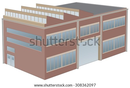 Perspective illustration of Factory building  - stock vector