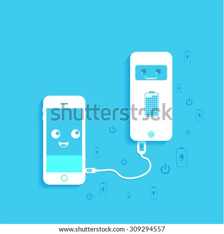 phone charging, flat icon isolated on a blue background. Concept background design - stock vector