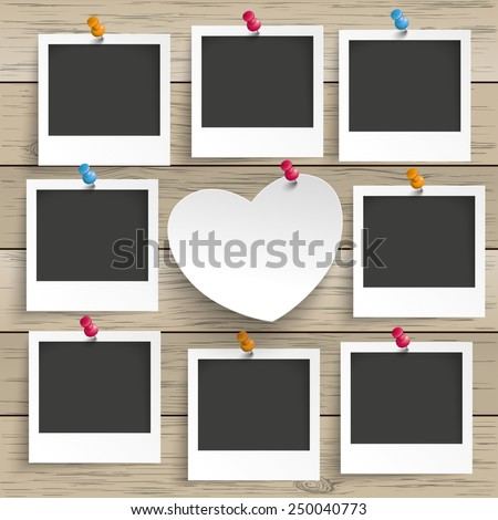 9 photo frames with white paper heart on the wooden background. Eps 10 vector file. - stock vector