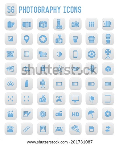 56 Photography icons,blue buttons - stock vector