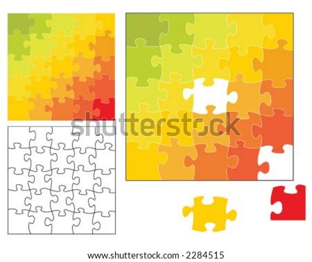 25 piece puzzle - stock vector