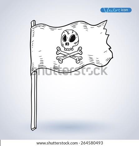 Pirates Flag, vector illustration. - stock vector