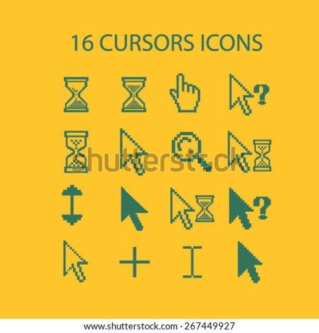 16 pixel cursors, mouse, waiting, question, search isolated web icons, signs, illustrations concept design set, vector - stock vector