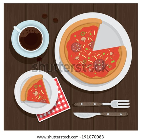 'Pizza and coffee  meal' vector illustration - stock vector