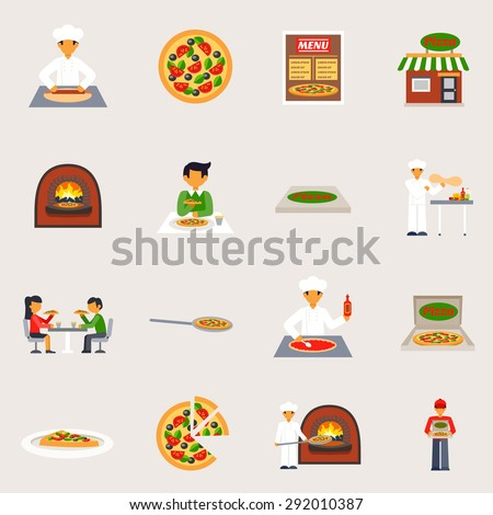 Pizzeria icons set with pizza oven and delivery flat isolated vector illustration  - stock vector