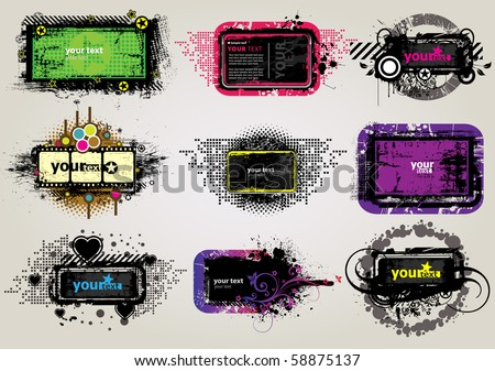 9 Placard with Banner in dark street style. Vector. - stock vector