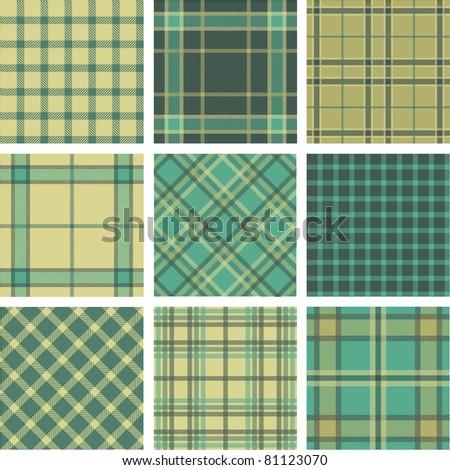 9 plaid pattern set - stock vector