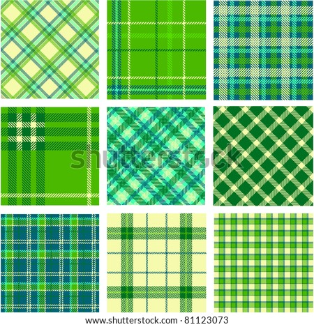 9 plaid patterns set - stock vector