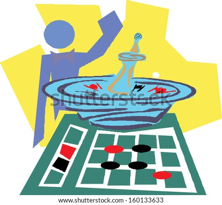 playing roulette in a casino  - stock vector