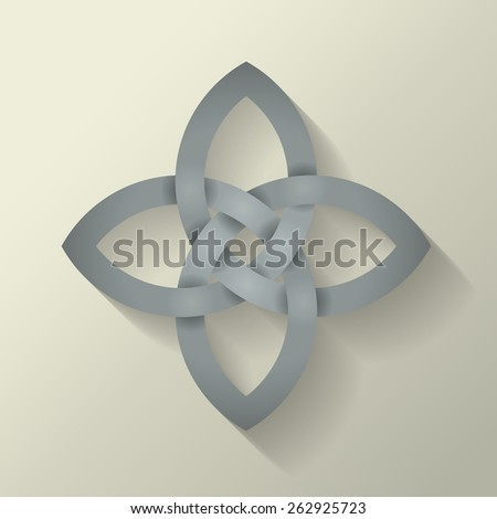 4 point Celtic knot with a long shadow effect.  This file is Vector EPS10. It uses clipping mask, blends and opacity masks.  - stock vector