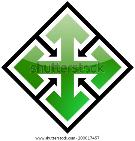 4 pointed arrows - stock vector