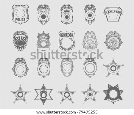 Police and Sheriff Badges - stock vector