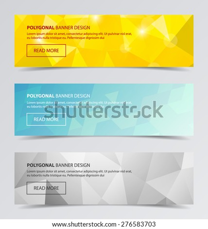 3 Polygonal banners for business modern background design, vector illustration. Geometric background. - stock vector