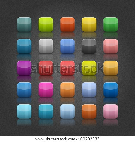 25 popular color blank web button. Striped rounded square shape with black shadow on gray backgrounds with noise texture effect. Vector 10 eps. - stock vector
