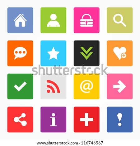 16 popular colors icon with basic sign. Simple rounded square shape internet button on gray background. Contemporary modern simple style. This vector illustration web design elements saved 8 eps - stock vector