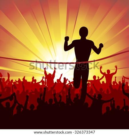 Poster running man. Finish. - stock vector