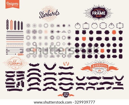 152 Premium design elements. Great for retro vintage logos. Starbursts, frames and ribbons Designers Collection - stock vector