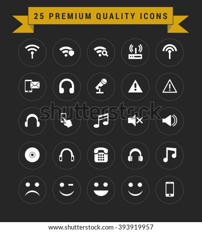 25 Premium Quality icon set. vintage yellow banner on top - stock vector