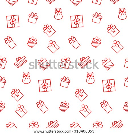 Present seamless pattern. Vector background. - stock vector