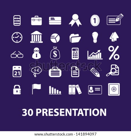 30 presentation, marketing, commerce, finance, internet shopping icons set, vector - stock vector