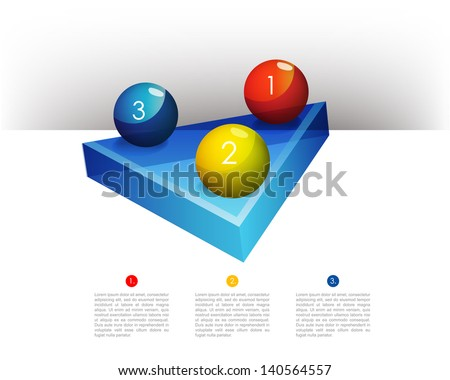 Presentation template graph with a triangle 3D glass diagram and glass balls. Infographics web elements. - stock vector