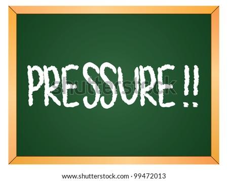 """""""pressure"""" word written on chalkboard - stock vector"""