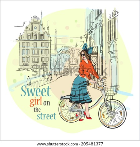 Pretty girl on the street. - stock vector